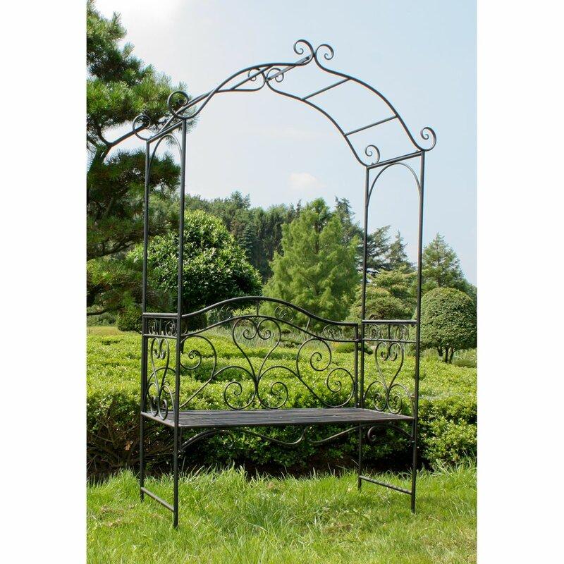 garten living 2 sitzer rosenbogen mit bank aus metall bewertungen. Black Bedroom Furniture Sets. Home Design Ideas