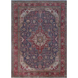 Caneadea Vintage Distressed Hand Knotted Wool Blue Area Rug