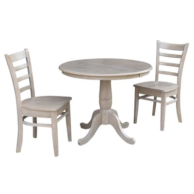 Petra Traditional Extendable Pedestal 3 Piece Solid Wood Bistro Set August Grove Color: Washed Gray Taupe