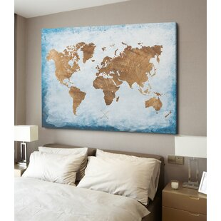 World map canvas art youll love wayfair washy world map oil painting print on wrapped canvas gumiabroncs Images