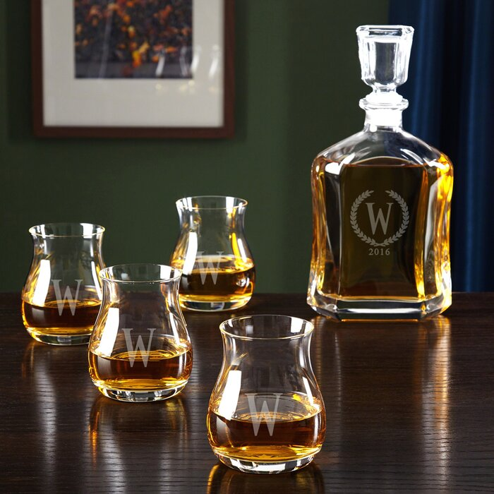 Glencairn Canadian 5 Piece Whiskey Decanter Set