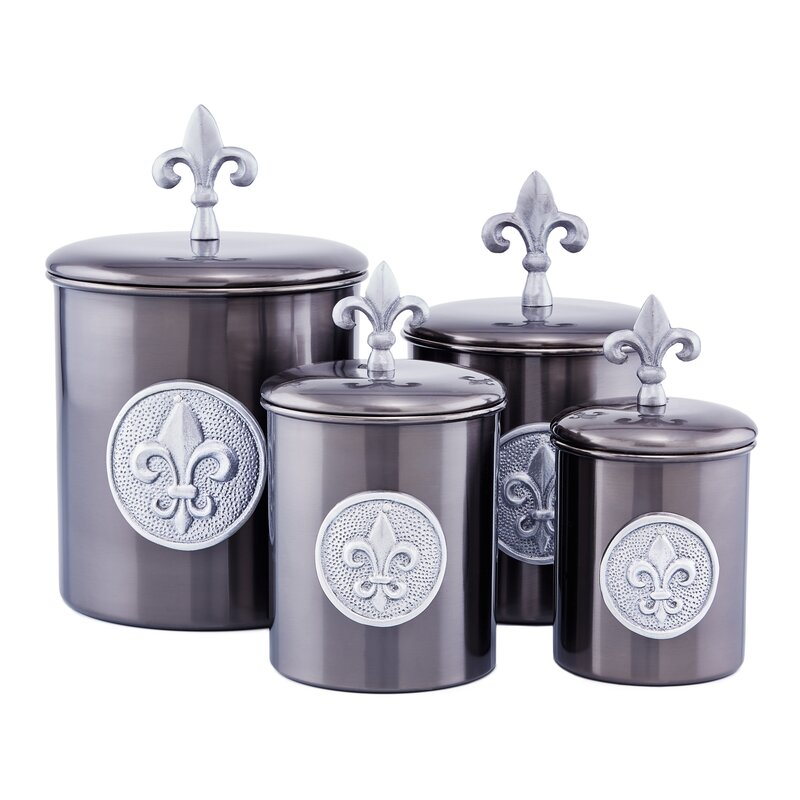 Fleur De Lis 4 Piece Kitchen Canister Set