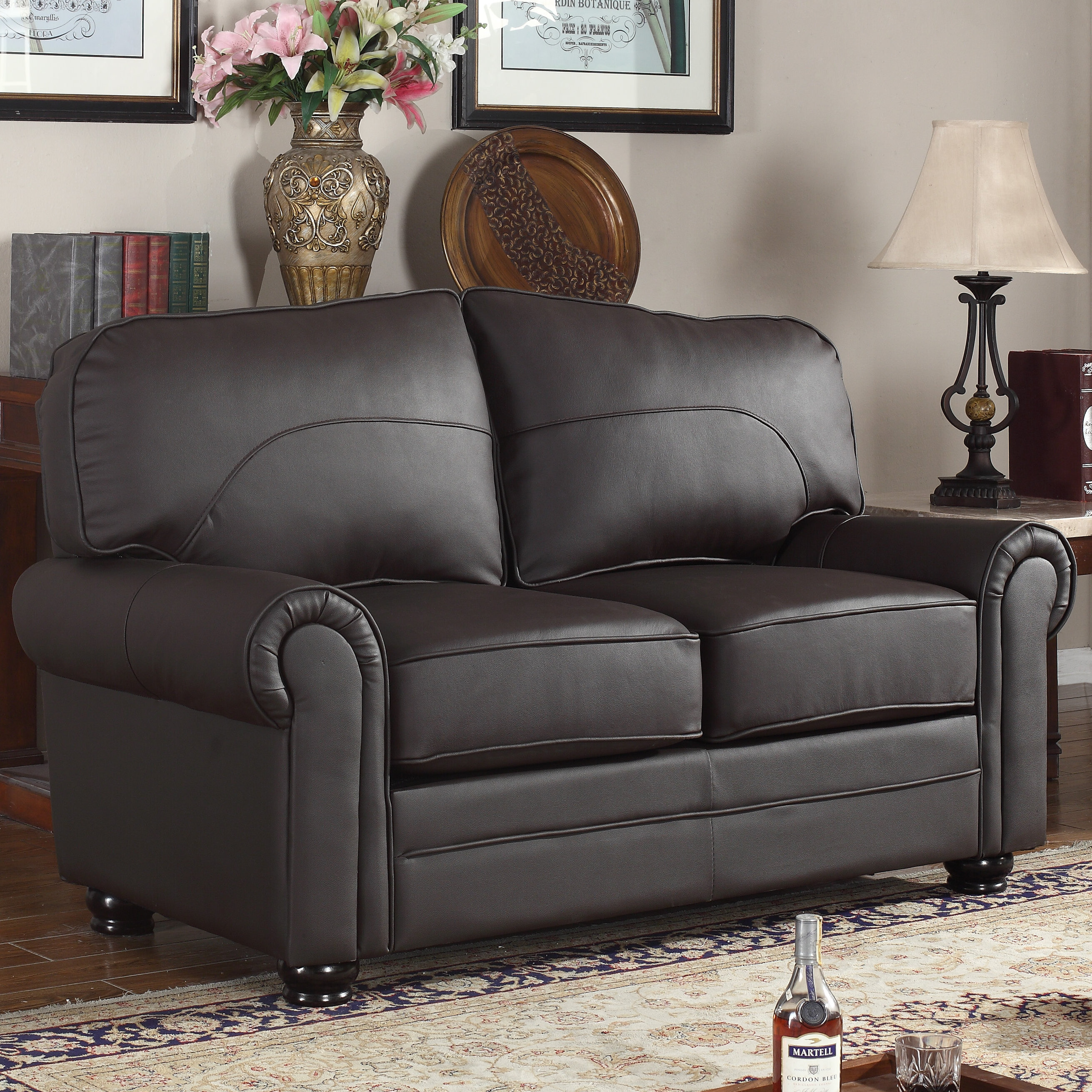 Madison home usa upholstered scroll leather loveseat wayfair