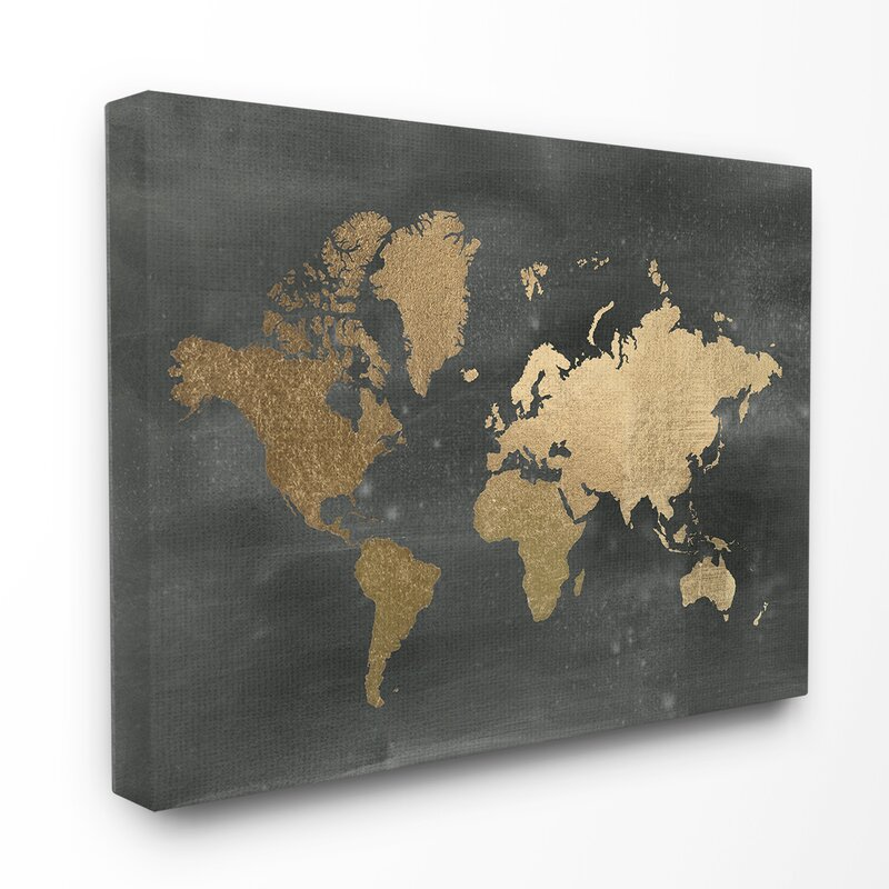 Stupell industries black and gold world map stretched graphic art black and gold world map stretched graphic art print gumiabroncs Gallery