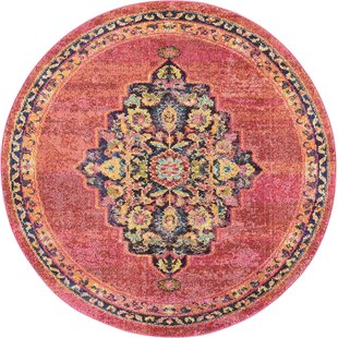 Lundy Traditional Medallion Red Yellow Area Rug
