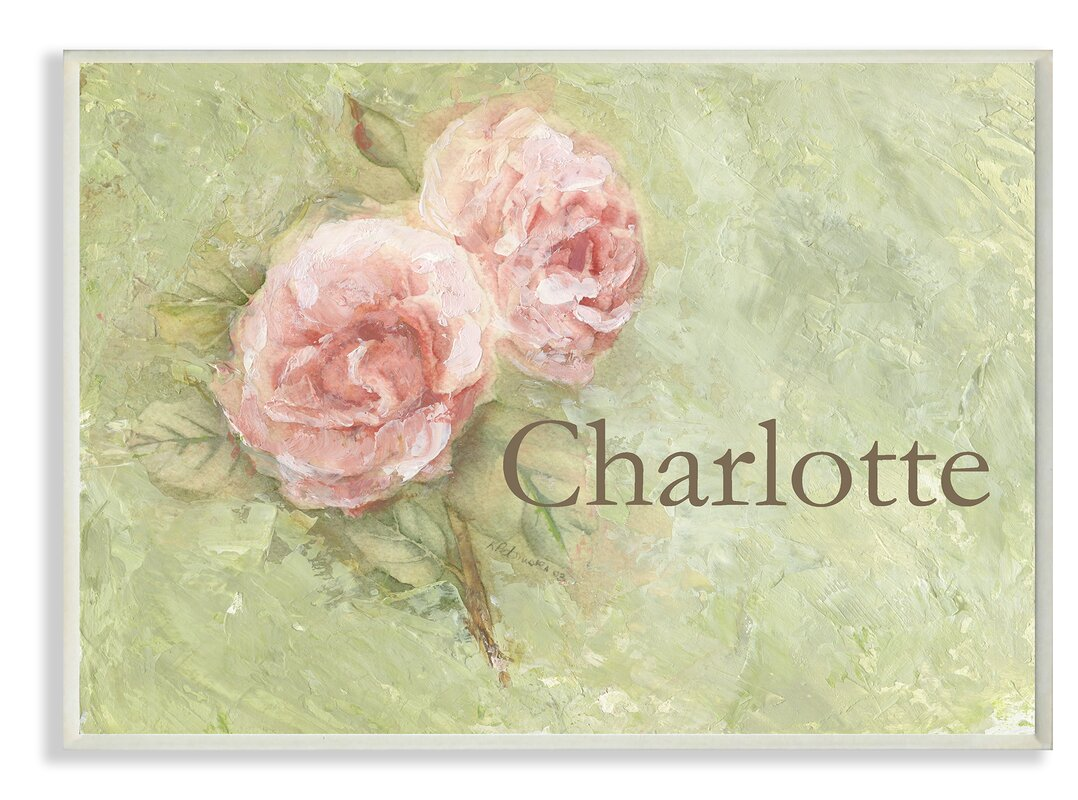 Stupell Industries Personalized Floral with Painted Look Wall ...