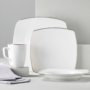 Lotus Silver Line 16 Piece Dinnerware Set Service for 4. by Ten Strawberry Street : strawberry street dinnerware sets - pezcame.com