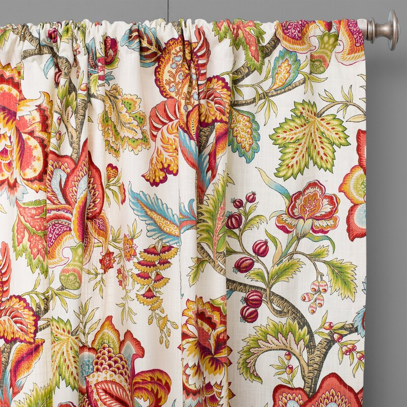 The Pillow Collection Jacobean Nature Floral Semi Sheer