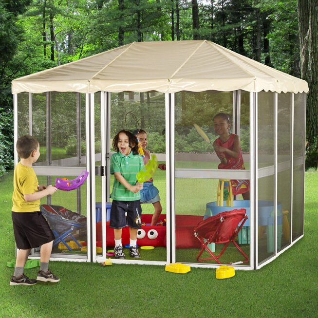 Childrenu0027s 7 Ft. W x 7 Ft. D Aluminum Permanent Gazebo & Gazebo Penguin Childrenu0027s 7 Ft. W x 7 Ft. D Aluminum Permanent ...