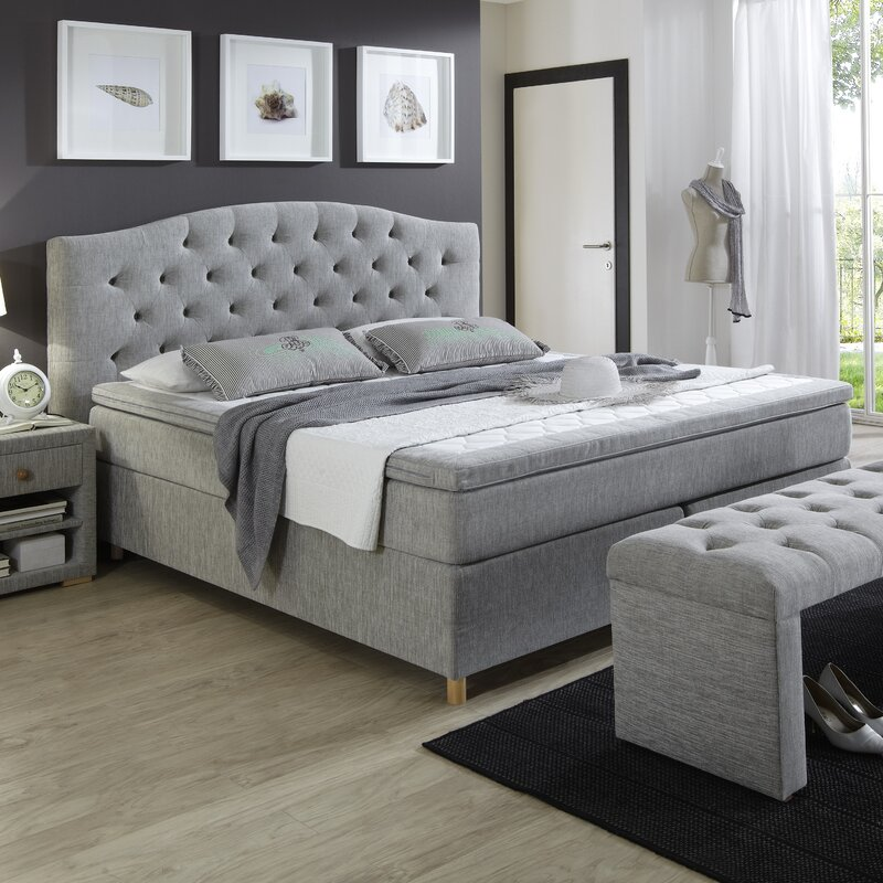 atlantic home collection boxspringbett claire mit topper 180 x 200 cm. Black Bedroom Furniture Sets. Home Design Ideas