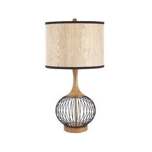 Modern contemporary metal wire table lamp allmodern rishi 18 table lamp with metal wire cage and faux wood shade greentooth Images