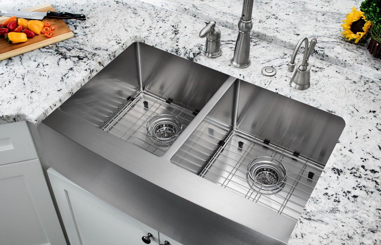 Exclusive Heritage 33 x 22 Double Bowl 50/50 Stainless Steel Kitchen  Farmhouse Apron Front