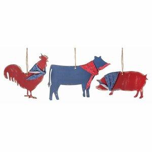 3 Piece Weathered Farm Animal Christmas Ornament Set