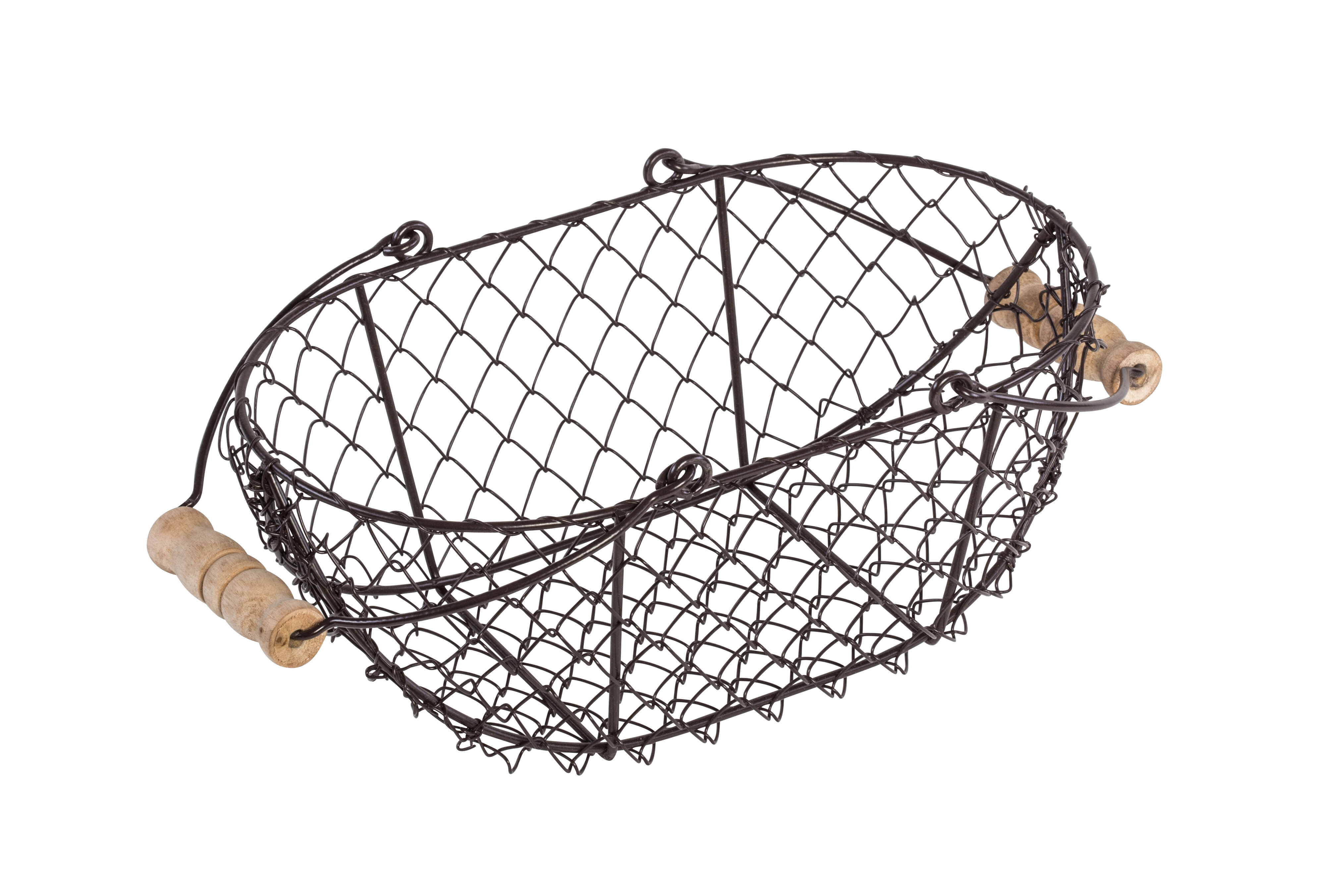 Trademark Innovations Oval Wire Basket with Wooden Handles & Reviews ...