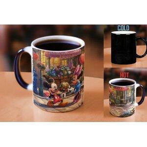 Thomas Kinkade Disney's Mickey and Minnie Mouse Sweetheart Cafe Heat Reveal Ceramic Coffee Mug
