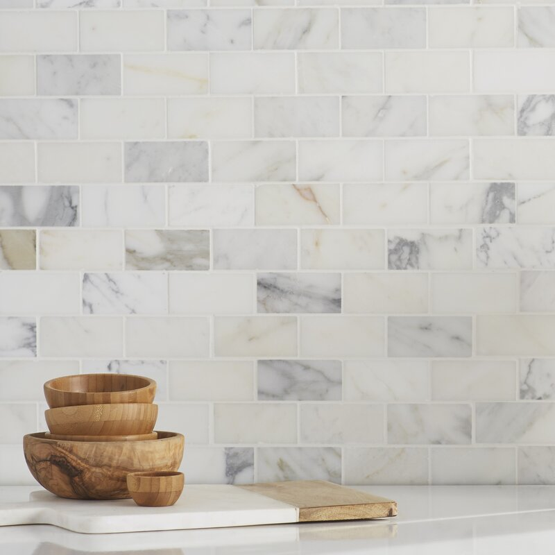 Calacatta Gold Mounted 2 X 4 Marble Subway Tile