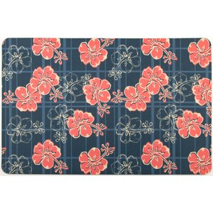 Tropical Hibiscus Plaid Doormat