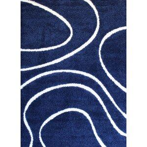 Quaoar Shaggy Curves Navy Blue Area Rug