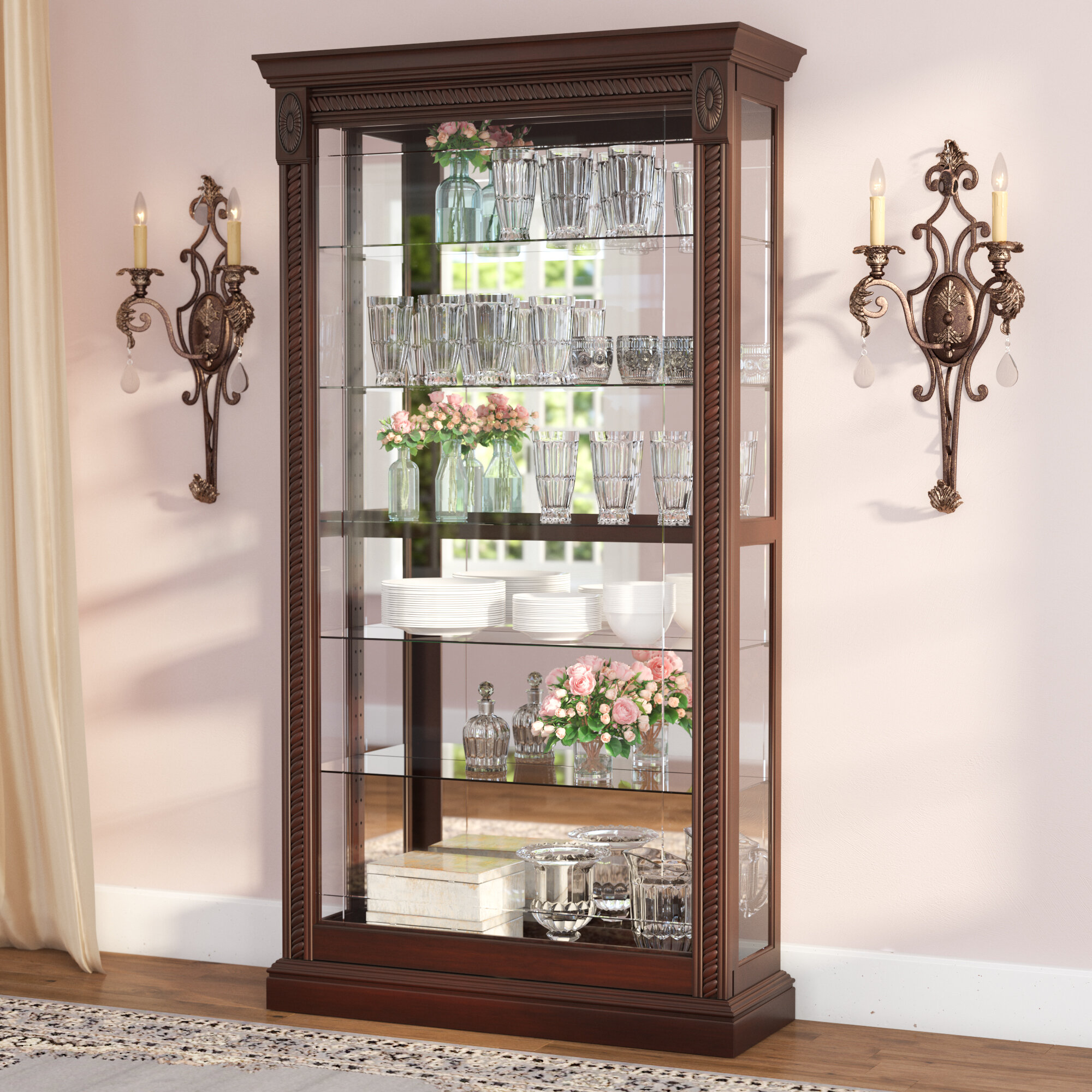 cabinets glass curio collectibles trophy shelf small display storage itm cabinet tier case