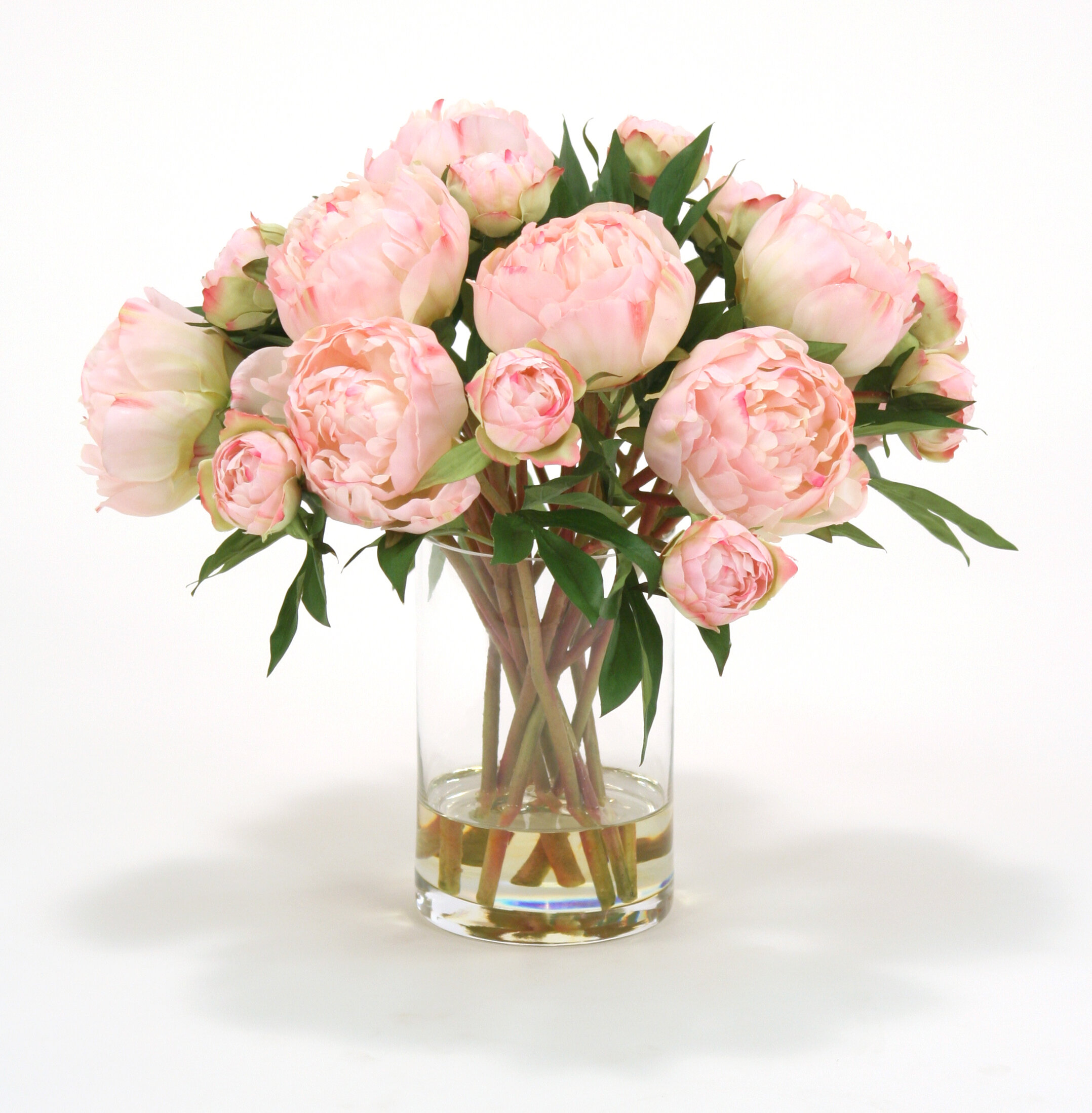 Distinctive Designs Waterlook Pink Peonies In Gl Cylinder Vase Wayfair