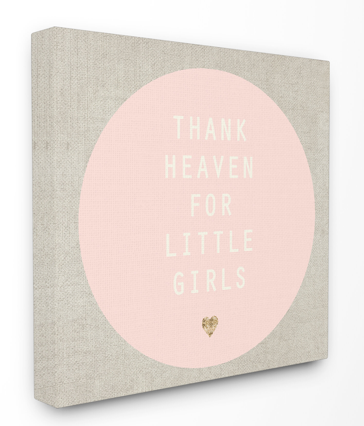 Thank heaven for little girls pink and tan stretched canvas wall art
