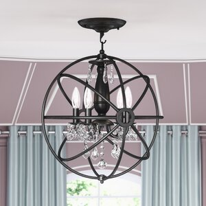 Dalveen 4-Light Iron Semi Flush Mount