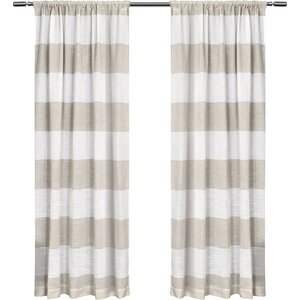 Plant City Striped Sheer Rod Pocket Curtain Panels (Set of 2)