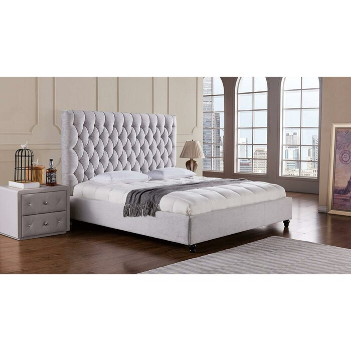 Fabric Upholstered Wooden Eastern King Bed With High Button Tufted Headboard Grey