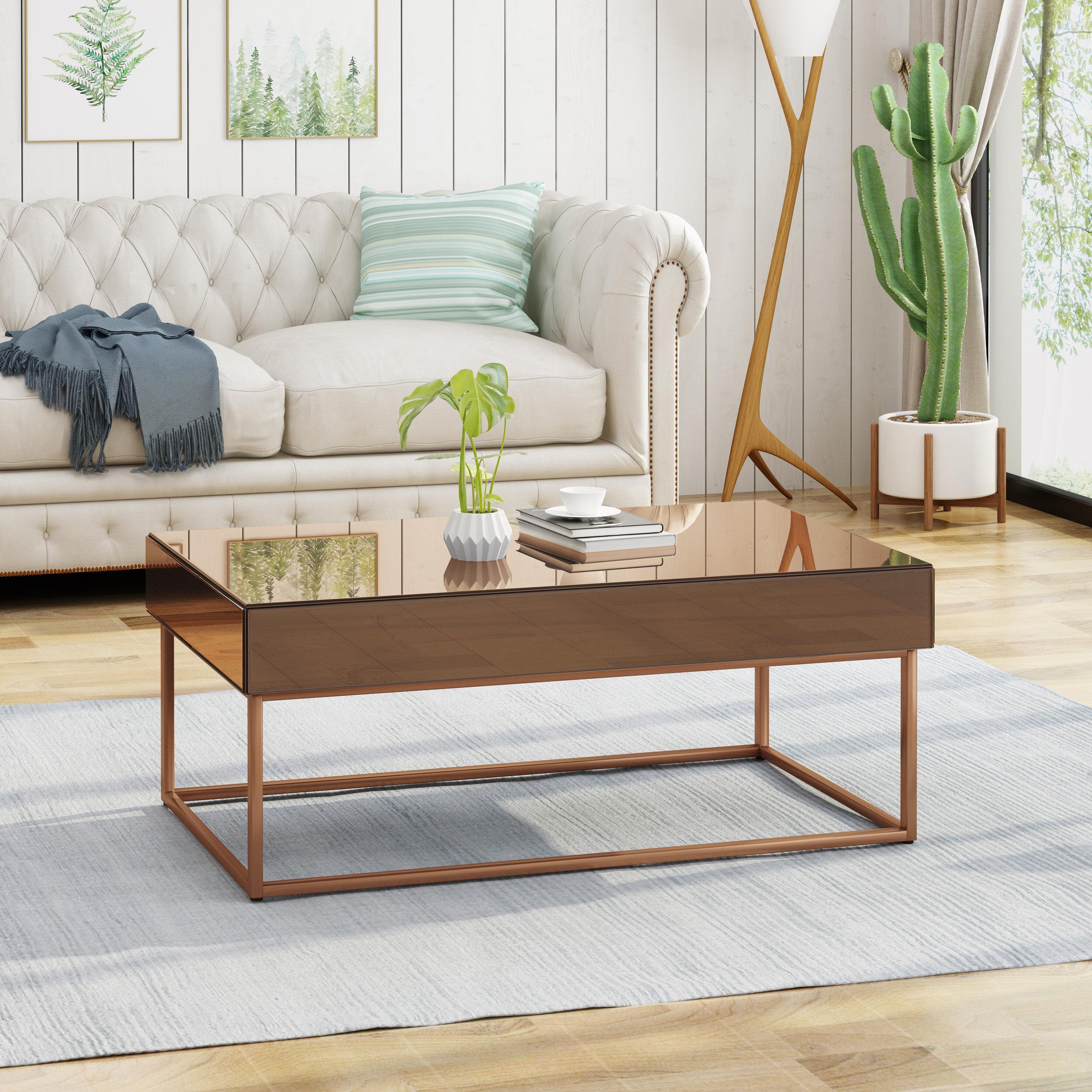 Wrought studio mcchristian modern glam coffee table with storage wayfair
