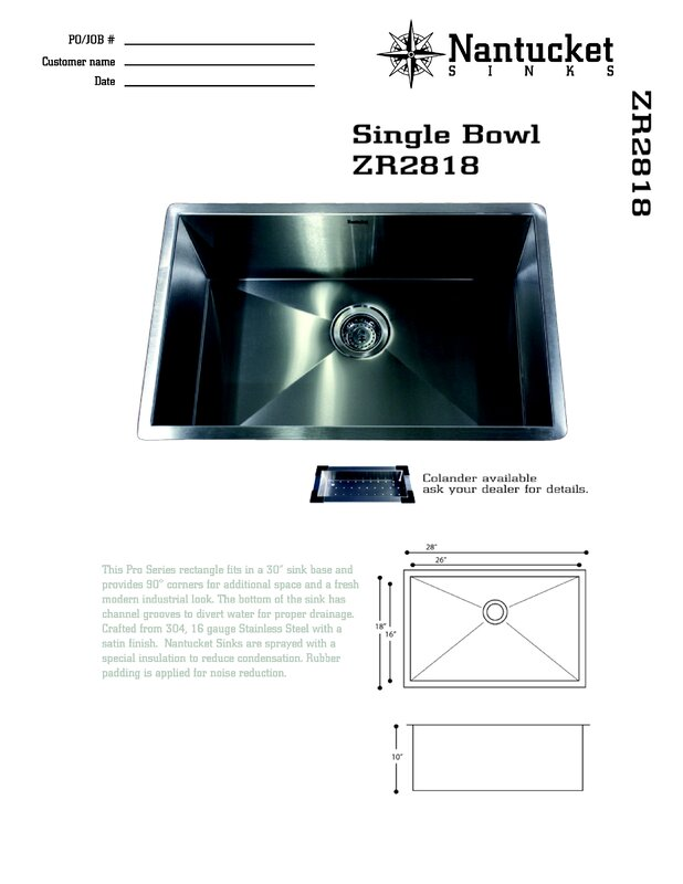 Nantucket sinks pro series 28 x 18 large rectangle stainless steel pro series 28 x 18 large rectangle stainless steel single bowl kitchen sink workwithnaturefo