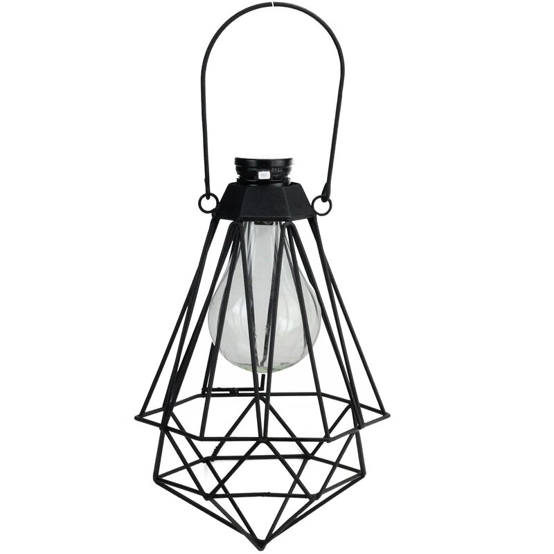 Audrey geometric solar powered 1 light outdoor led hanging lantern audrey geometric solar powered 1 light outdoor led hanging lantern workwithnaturefo