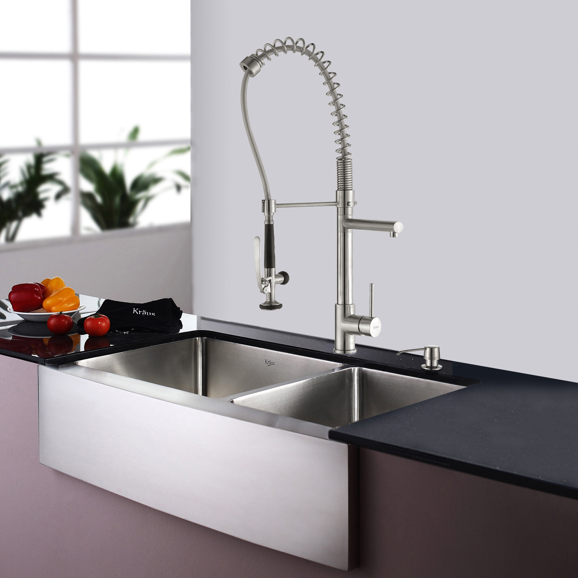KHF203-36-KPF1602-KSD30SS 35.9  L x 20.75  W Double Basin Farmhouse Kitchen Sink Set with Kitchen Faucet and Soap Dispenser & KHF203-36-KPF1602-KSD30SSCH Kraus 35.9