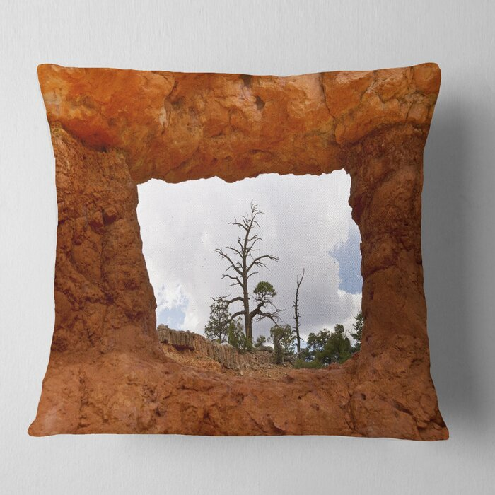 Sky Through Red Canyon Window Contemporary Landscape Printed Pillow