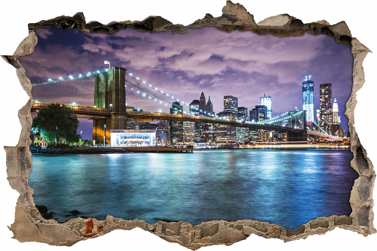 Brilliant New York Wandtattoo Dekoration Von Skyline Bei Nacht