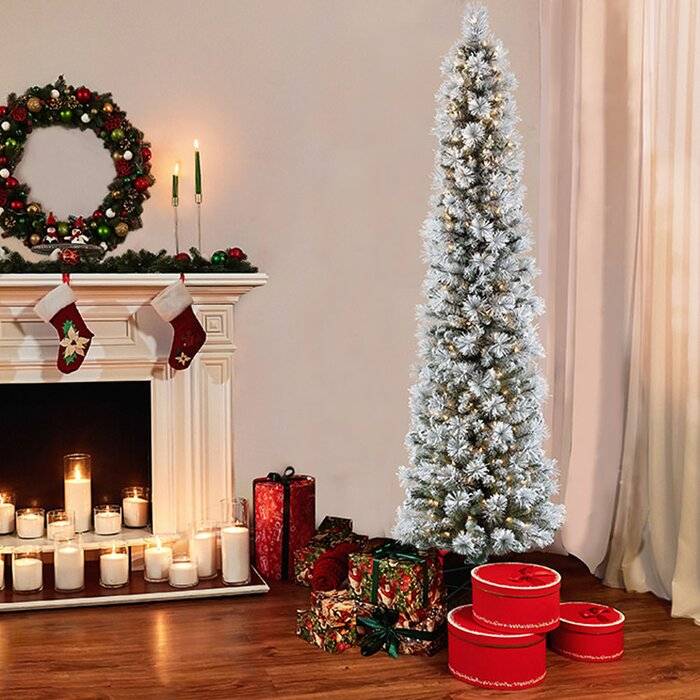 new concept 161e8 c9b24 Flocked Pencil Portland Green Pine Artificial Christmas Tree with Clear and  White Lights