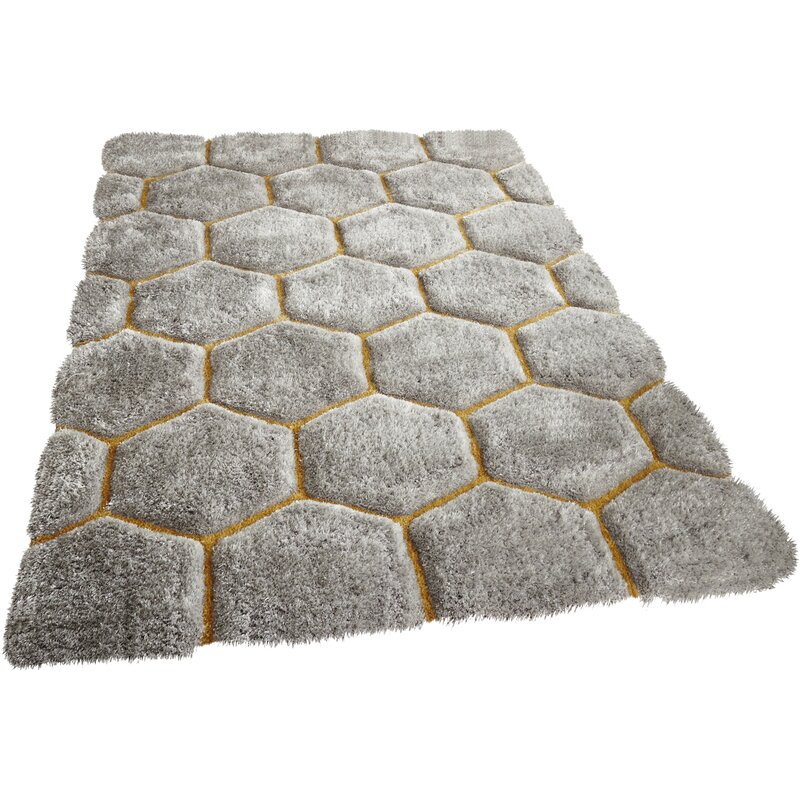Metro Lane Mindy Hand Tufted Grey Yellow Area Rug