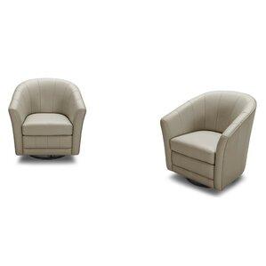 Coalpit Heath Leather Modern Barrel Chair by..