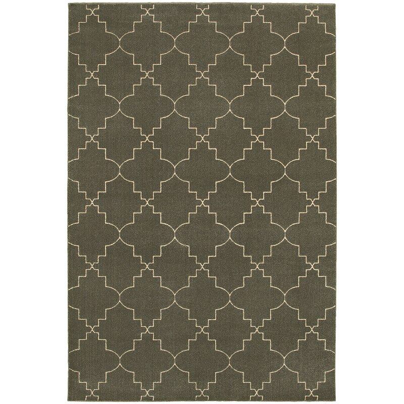 Alcott Hill Allen Gray/Ivory Area Rug, Size: Rectangle 67 x 96