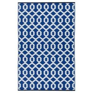 Lightweight Reversible Blue/White Indoor/Outdoor Area Rug
