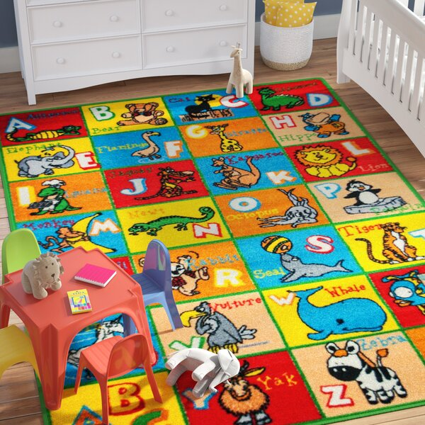 Zoomie Kids Angelique Learn Abc Alphabet Letters With Animals Bright Colorful Vibrant Colors Baby Room Area Rug Reviews Wayfair