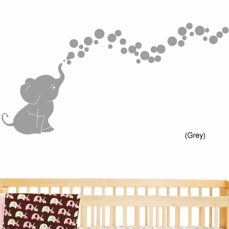 Lovely Elephant Bubbles Nursery Room Removable Wall Decal