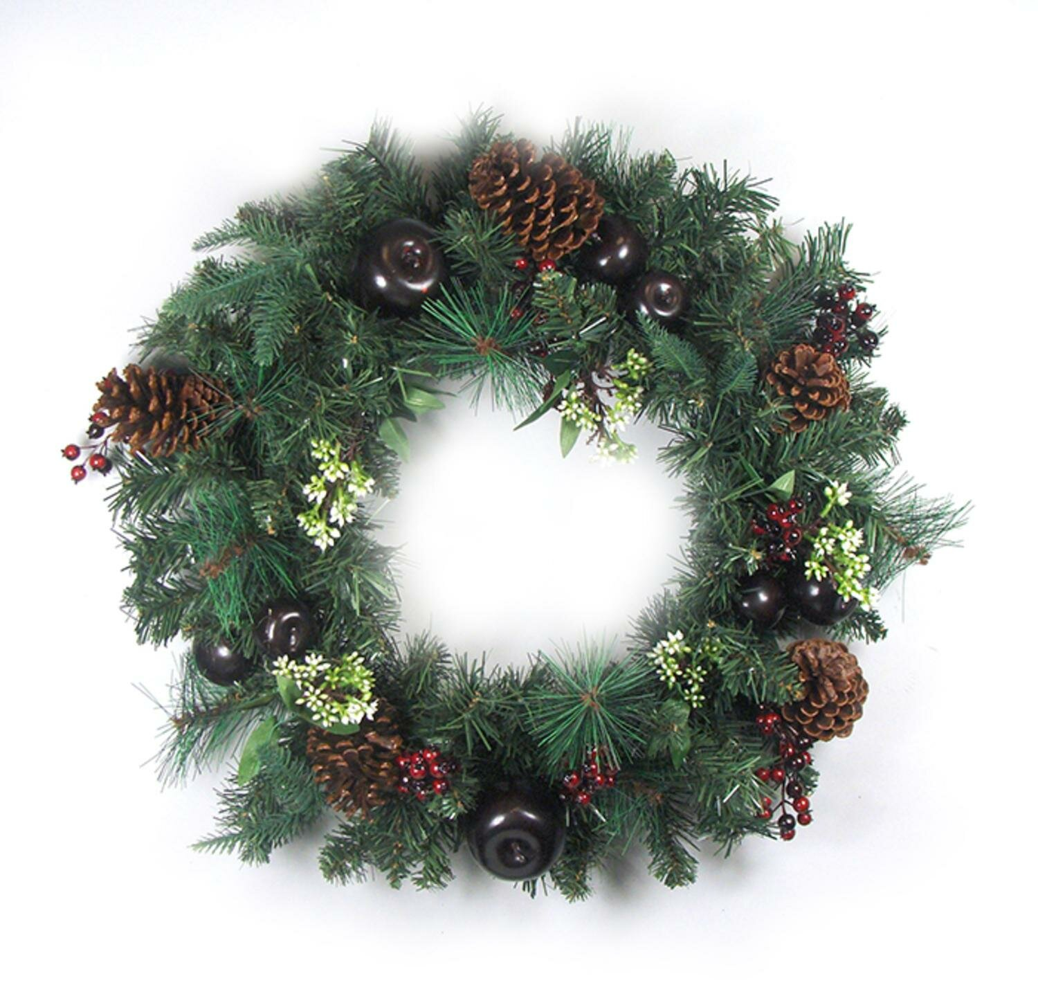northlight 24 artificial red berry pine cone apple christmas wreath wayfair - How To Decorate Artificial Christmas Wreath