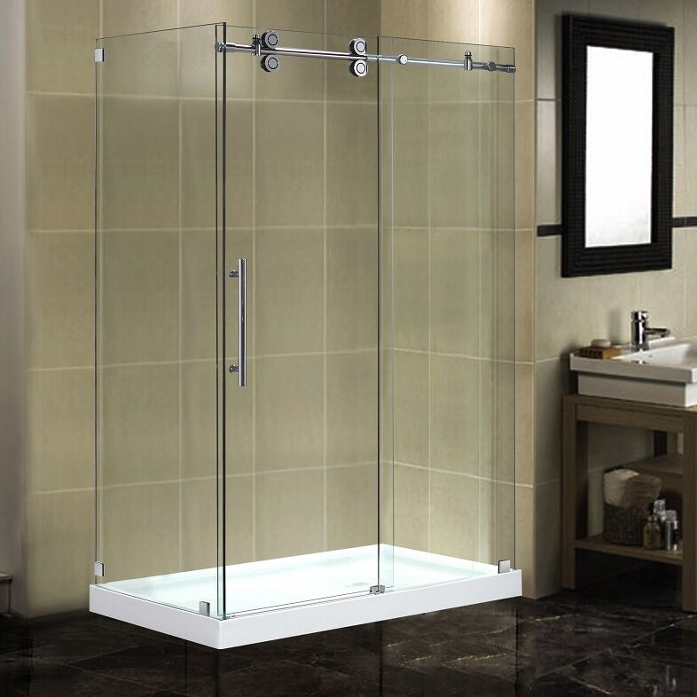 "Frameless Sliding Shower Doors aston langham 48"" x 35"" x 77.5"" completely frameless sliding"