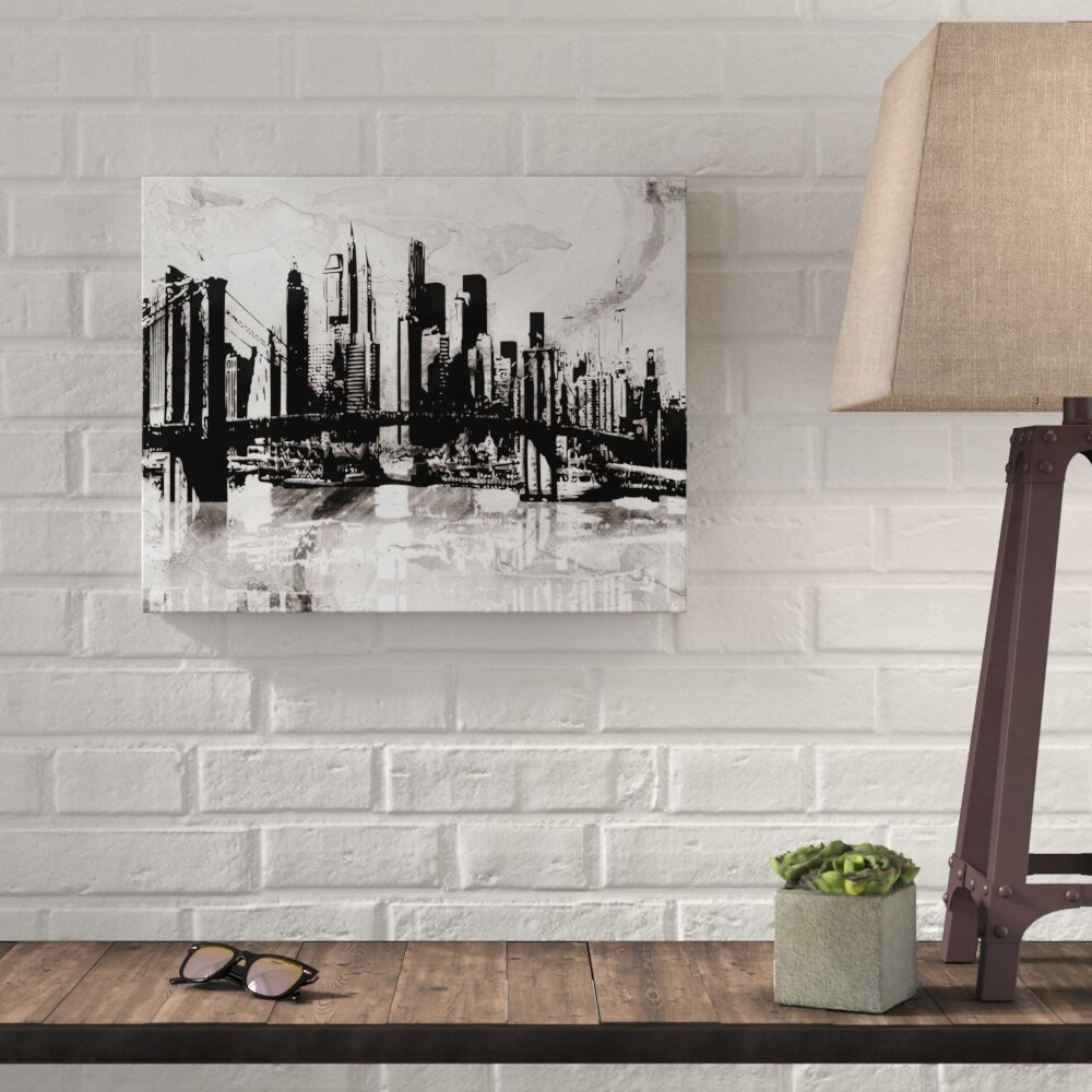 Williston forge black and white graffiti city skyline graphic art print on canvas wayfair