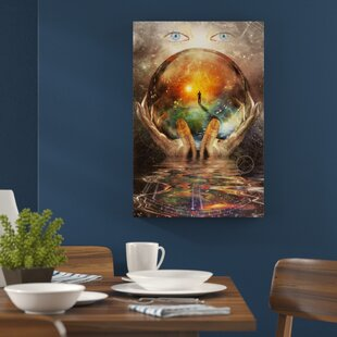 57014046a5c Glass Globe in Hand with Abstract Background Wall Art on Canvas
