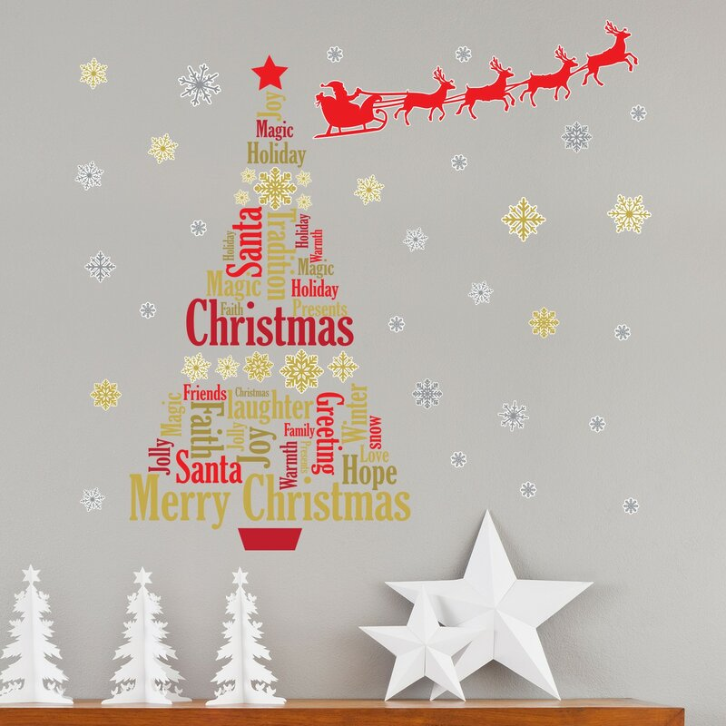 english quotes santas sleigh christmas tree wall decal - Christmas Decoration Quotes