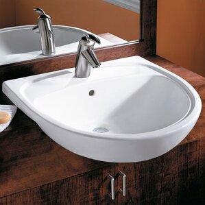 Mezzo Ceramic Circular Drop In Bathroom Sink With Overflow