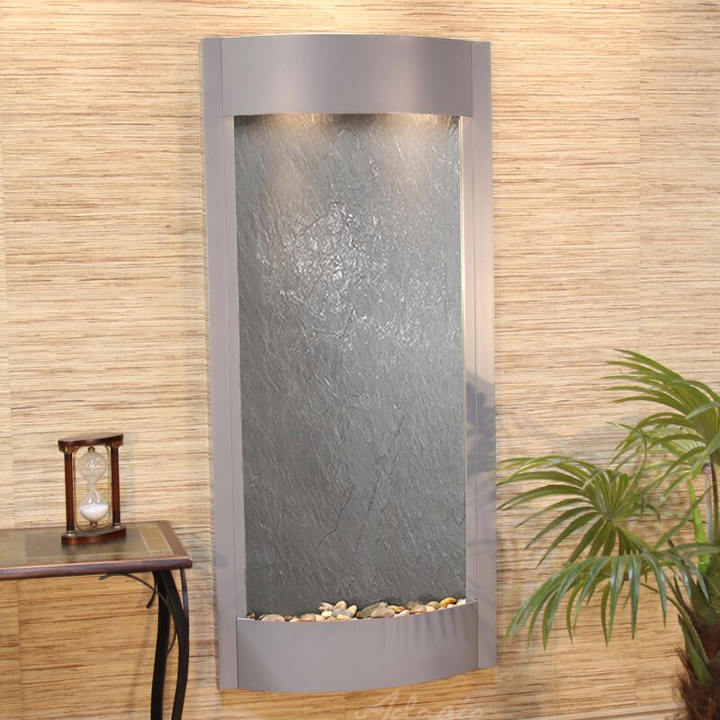 Pacifica Waters Natural Stone/Metal Wall Fountain with Light Finish: Silver Metallic, Stone: Bronze Mirror