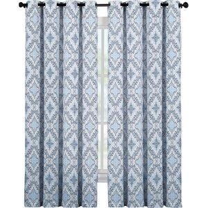 Ardis Damask Semi-Sheer Grommet Single Curtain Panel