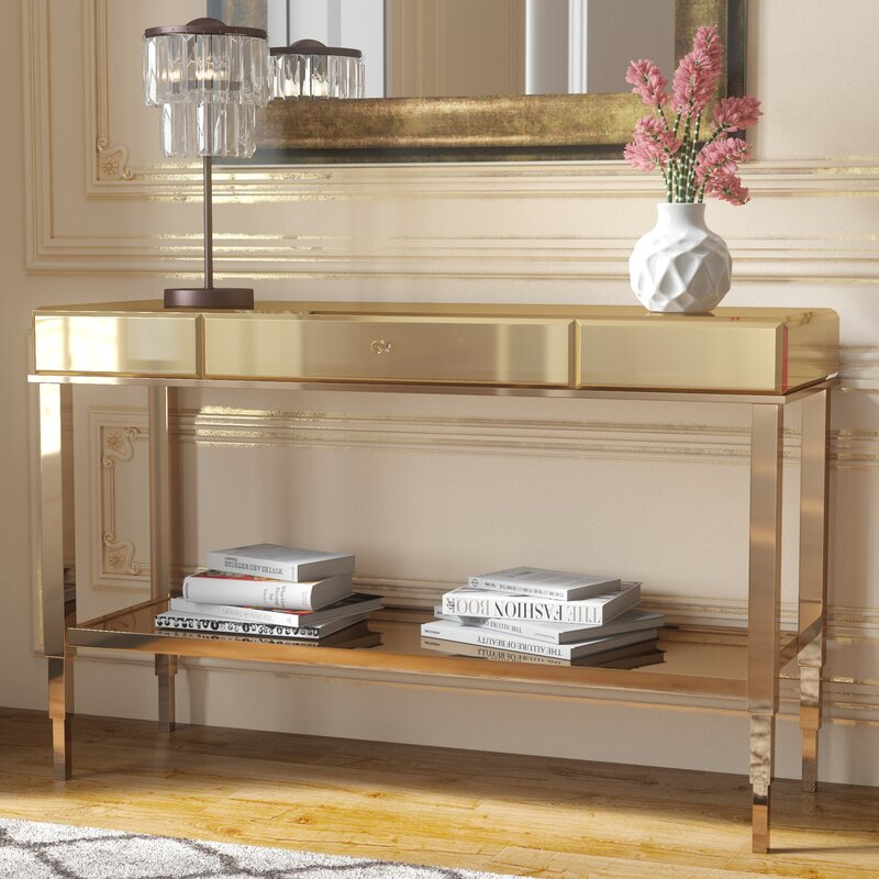 Willa Arlo Interiors Calisto Mirrored Console Table Reviews Wayfair